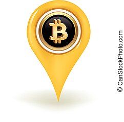 Bitcoin Map Pin - Bitcoin sign in a map pin.