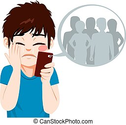 Cyber Bullying Boy - Young teenager boy suffering cyber...