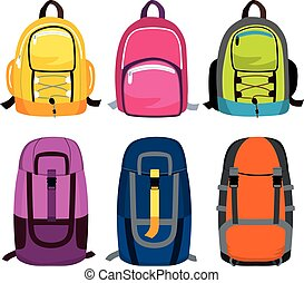Travel Backpack Collection - Set collection of colorful...