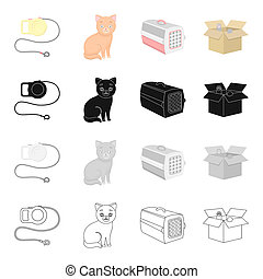 Leash for an animal, a cat, a container for an animal, a kitten in a box.Cat set collection icons in cartoon black monochrome outline style bitmap symbol stock illustration web.
