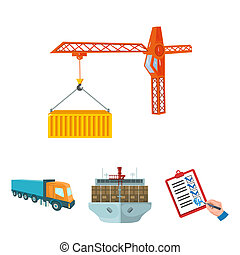 Sea freight, signature of delivery documents, truck, tower...