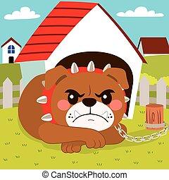 Dangerous Dog - Illustration of dangerous bulldog dog lying...