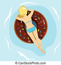Doughnut Inflatable Back - Woman lying back on inflatable...