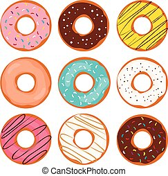 Doughnut Colorful Collection - Illustration of various...