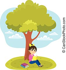Reading Under Tree - Young little girl reading a book under...