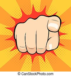 Pointing Finger Hiring You - Close up illustration of...