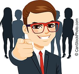 We are Hiring - Young happy businessman pointing his finger...