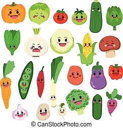 Vegetables Set - Set of cute fruit and vegetable cartoon...