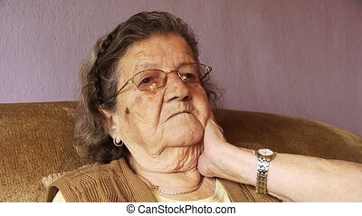 Senior old woman health pain neck rheumatism