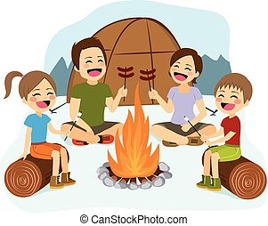 Family Campfire - Happy family cooking sausages and...