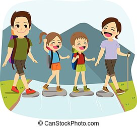 Crossing River - Young cute happy family crossing river on...