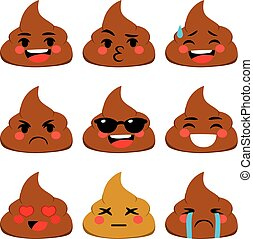 Poo Emoji - Set collection of poo shit emoji icon with...