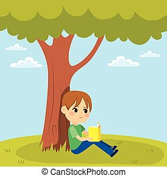 Kid Reading Under Tree - Young little kid reading a book...