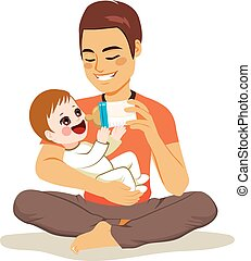 Father Feeding Baby - Young male father cute newborn baby...