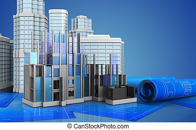 3d with urban scene - 3d illustration of construction...