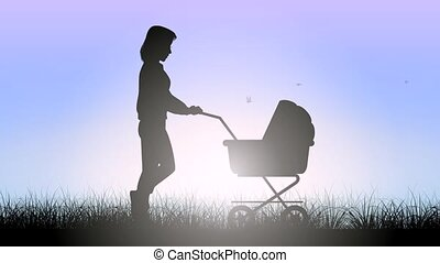 Mother with stroller - Video of a mom with stroller on a...