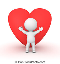 3D Character with a large red heart shape behind him....