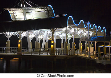 Ferry Terminal at Night - Image of a Malaysian small port...