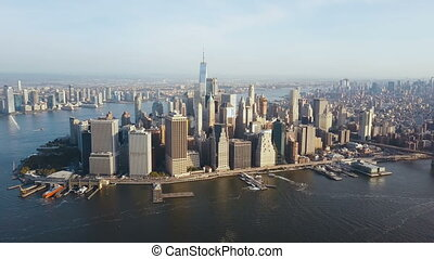 Aerial view of Manhattan district on the shore of the East...