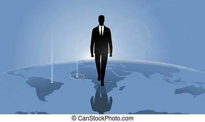Businessman and planet - Video of a businessman walking on a...