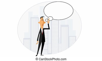 Businessman with speech - Video of a businessman with speech...