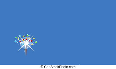 Fireworks in blue sky - Video of a multicolored fireworks in...