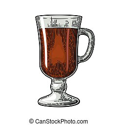 Glass of mulled wine and cocktails. Vector engraving - Glass...