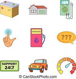 Petrol station icons set, cartoon style