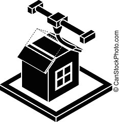 House d printing icon, simple style - House d printing icon....