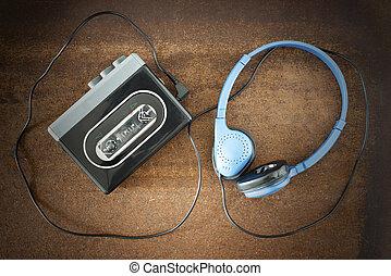 vendimia, walkman, headphones.