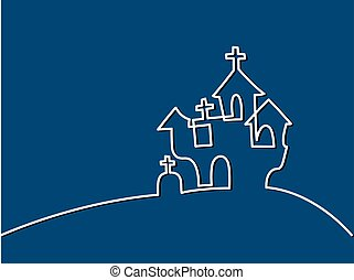 Continuous line drawing of black halloween manor. Vector...