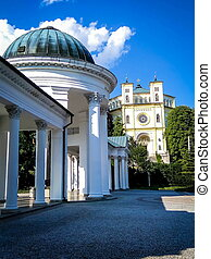 Colonnade with mineral water sources in Marianske Lazne -...
