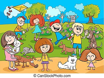 cartoon kids with pets in the park - Cartoon Illustration of...
