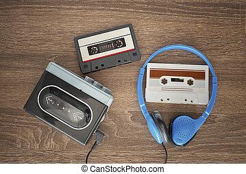 vendimia, cassete, headphones., walkman