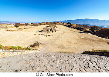 Monte Alban Wide Angle View - Wide angle view of the ancient...