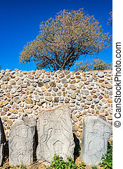 Stelae and Trees - Stelae known as the danzantes in Monte...