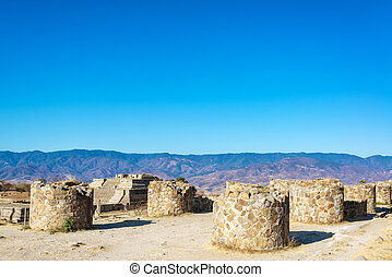 Columns in Monte Alban - Columns in the ruins of the ancient...