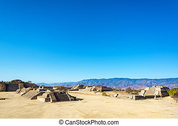 Monte Alban Ruins and Hills - Ancient city of Monte Alban...
