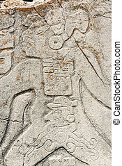 Dancer Closeup in Monte Alban - Closeup view of a stele in...