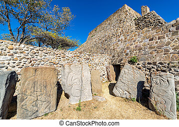 Dancers and Temple in Monte Alban - Carvings known as the...