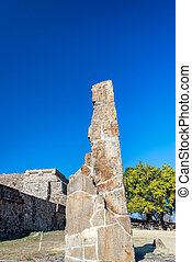 Monte Alban Stele - Large stele in the ruins of Monte Alban...