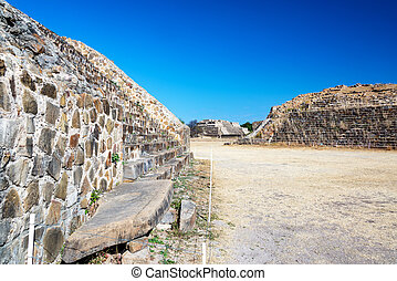 Monte Alban Temples - Beautiful blue sky and ancient temples...