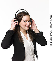 Smiling girl listen to music