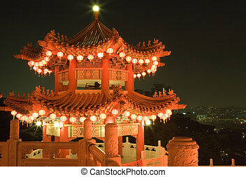 Chinese Temple at Night - Image of a Chinese temple in...