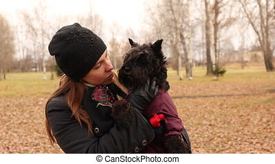 woman with schnauzer