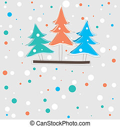 christmas card with tree . vector illustration - christmas...