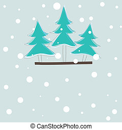 christmas card with tree vector illustration - christmas...