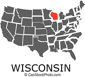 State of Wisconsin on map of USA