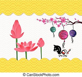 Chinese New Year Background with blossom and lantren. Year...