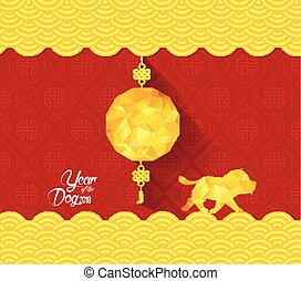 Chinese New Year Background with lantern. Year of the dog